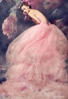 ❀ Flower Maiden Fantasy ❀ beautiful art fashion photography of women and flowers - pink tulle  roses