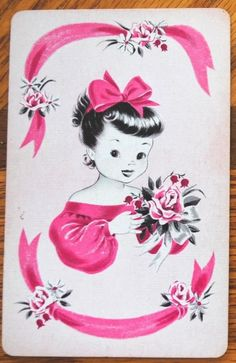 (With ribbon & rose in pink. Collectable Single Cards Only - NOT DECKS! single (not deck). Pretty Girl. back is a little discol oured from age. no edgewear).   eBay!