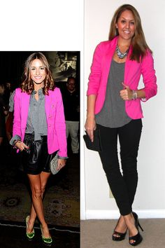 bright blazer (I have this exact one in red; could also do cobalt) + grey top + black skinny pants + black stilettos + some bling