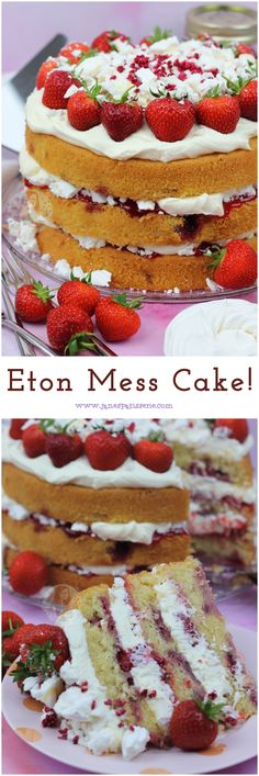 A Three Layer Eton Mess Cake with a Fresh Strawberry Sponge, Fresh Whipped Cream, Crushed Meringue and More! Fruit Sponge Cake, Sponge Cake Recipes, Patisserie Cake, Janes Patisserie, Mini Tortillas, Eton Mess Cake, Fruit Birthday Cake, Fresh Cream Birthday Cake, Cake Mix Muffins