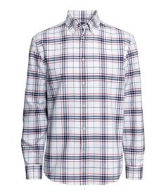 Premium-quality button-down shirt with blue checks, short sleeves ...