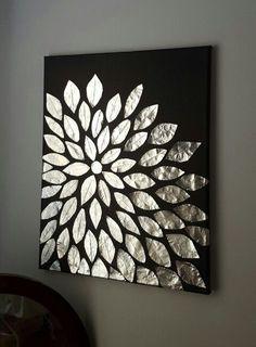 DIY wall art. Blank canvas, aluminum foil, and mod podge