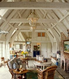 French-Normandy Barn inspired pool house designed by Thomas Callaway - post & beam, vaulted ceiling