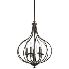 "Five Light Olde Bronze Open Frame Foyer Hall Fixture : SKU V665-43335oz | Living Lighting $? Width: 20.25"" Height: 29.25"""
