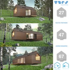"""Nueva Fachada """"SIDING MADERA"""" 27m2 - 47m2 - 67m2 Cabin, House Styles, Home Decor, Medellin Colombia, Prefab Homes, Style At Home, Architects, Yurts, Wood"""