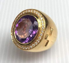 Yellow Gold Men's Rings, Amethyst Men's Ring, Bishop Ring, Gold Cross Ring, Christian Ring by SterlingMalee Amethyst Stone, Purple Amethyst, Diamond Stone, Bishop Ring, Mens Pinky Ring, Sapphire Diamond Engagement, Engagement Rings For Men, Wedding Engagement, Gemstones