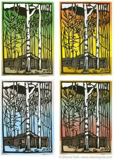 reduction linocut--good example to show students how to use gradient for first layer of ink