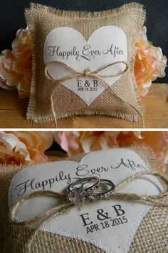 Burlap Ring Bearer Pillow Personalized Ivory Heart Happily Ever After Ringbearer Pillow Shabby Chic Rustic Country Wedding by justforkeeps