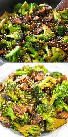 Vegetarian Mushroom Recipes, Lunch Recipes, Vegetable Recipes, Diet Recipes, Cooking Recipes, Easy Mushroom Recipes, Brocolli Recipes, Healthy Broccoli Recipes, Baby Broccoli Recipe