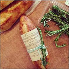 Local bakery baguettes as rehearsal dinner favors! #rreweddings
