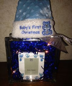 Baby's first Christmas Glass Block with lights $30 Christmas Glass Blocks, Babies First Christmas, Craft Sale, Lights, Frame, Baby, Crafts, Picture Frame, Manualidades