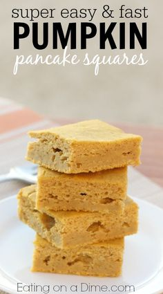 You have to try these Baked Pumpkin Pancakes - You get the flavor of pancakes in an easy casserole and then you just cut them into squares.