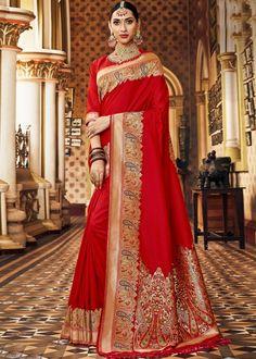 Red Bridal Art Silk Woven Saree With Blouse Banarasi Sarees, Silk Sarees, Kurti, Raw Silk Saree, Red Saree, Saree Blouse, Anarkali, Lehenga, Indische Sarees