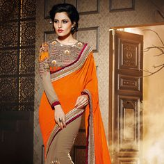 Orange and Fawn Faux Georgette Saree with Blouse