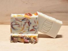 These are the two different soaps I made from the Patchouli Batch.  Love the simple bar just as much as the rainbow one!! #artisansoap #soapmaking #soapblog #hscgmaker #soapshare #singlebarrelsoaps #confettisoap #rainbowsoap