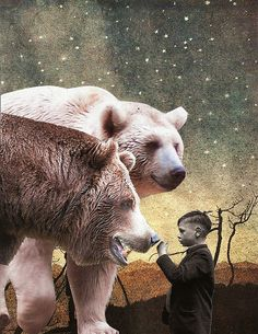 'Beasts of the Northern Wild' by Lynn Skordal. Cut & paste collage...paper on paper. Fotomontaggio con iPad: foto di animale feroce o preferito e foto del bambino da montare su paesaggio dipinto a mano e fotografato.