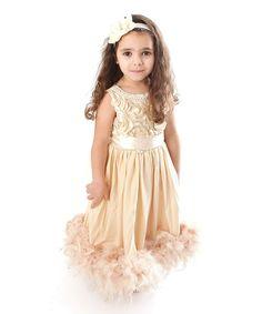 Latte Feather-Trim Dress - Infant, Toddler & Girls