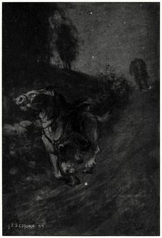 Away they dashed, through thick and thin.    Frederick Simpson Coburn, from The legend of Sleepy Hollow, by Washington Irving, New York, 1899.