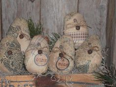 6 Primitive Quilted Fabric Easter Eggs Ornies Bowl Fillers Ornaments Tucks |