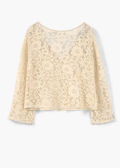 Lace cotton t-shirt | MANGO