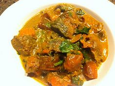 Crock Pot Indian Curry Beef w/ Spinach and Sweet Potatoes #paleo