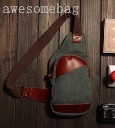 Leather Chest Bag/Messenger Bag/Shoulder Bag/IPad by AWESOMEBAG, $29.99