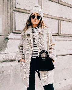 cute winter outfit beanie teddy coat