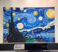 "Starry night by mizgvus ""It is done. Now I need to order more blue  #perler #artkal #nabbi #hama #perlerbead #pixel #pixelart #stars #starrynight #vangogh #fineart #moon #mizgvus #mizgvusdesigns #etsy #awesome #yay #craft #design #designerd #designlife #graphicdesign"""