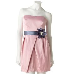 Belted sateen strapless light pink dress - Kohl's $60