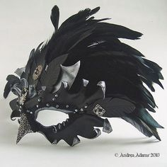 Jeweled Leather Raven Mask