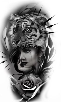 Tiger Tattoo Sleeve, Best Sleeve Tattoos, Lion Tattoo, Girl Face Tattoo, Face Tattoos, Girl Tattoos, Angel Tattoo Designs, Tattoo Sleeve Designs, Tattoo Sketches