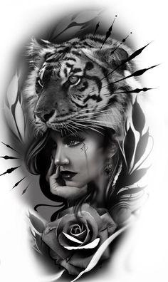 Tiger Tattoo Sleeve, Realistic Tattoo Sleeve, Best Sleeve Tattoos, Lion Tattoo, Girl Face Tattoo, Face Tattoos, Girl Tattoos, Angel Tattoo Designs, Tattoo Sleeve Designs