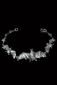 Dark-Silver - 925er Silber Gothic Armkette aus Fledermäusen