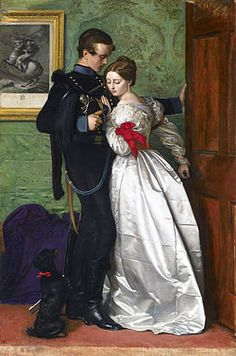 """The Black Brunswicker"" (1860) by John Everett Millais. It was inspired in part by the exploits of the Black Brunswickers, a German volunteer corps of the Napoleonic Wars, during the Waterloo Campaign and in part by the contrasts of black broadcloth & pearl-white satin."