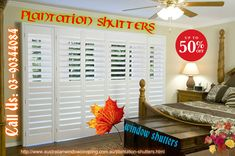 Custom Plantation shutters with wide range of fabrics, colours and designs for all type of rooms. AWC offers online Plantation Shutters with best price in Melbourne.