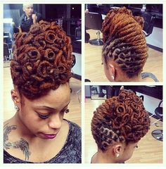 great coils and a great color on this loc updo