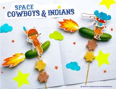 DIY; Healthy Party Treat with Free Printable Download ;-D ~ DIY; Gezonde Traktatie - Space cowboys & Indianen met gratis print om te downloaden.