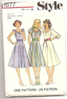 1970's Style 1877 Pattern Summer dress flared skirt Sun dress Retro Vintage Size 10 Misses Woman garment fashion