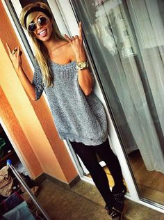 Cute! Fall outfit. Off the shoulder gray sweater  + Black leggings or skinnies + accessories.... different shoes though