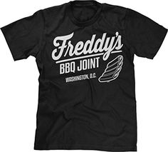 Blittzen Mens Freddy's BBQ Joint Washington DC, L, Black. 100% Preshrunk cotton. Design may appear smaller/larger based on sizing. Wash inside out with like colors in cold water. Hang to air dry or tumble dry on low heat. If you like the design check it out on other garments we offer by searching Amazon using the design part of the product title.