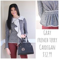 #frenchterry #cardigan #jeans #purse #ootd #shopbellame