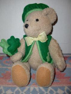 Vintage Irish St Patrick's Day Shamrock Teddy Bear Button Sitting Plush Toy | eBay