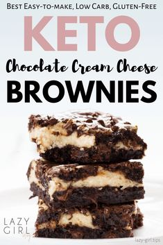 These Low Carb Keto Cream Cheese Brownies are a delicious guiltless treat! They are gluten free and low sugar brownies and two favorite desserts combined into one tasty dessert! Keto Brownies, Cream Cheese Brownies, Cream Cheese Desserts, Chocolate Cream Cheese, Tiramisu Brownies, Coconut Brownies, Chocolate Lasagna, Chocolate Food, Cream Cheese Filling