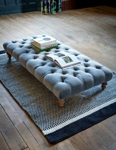 This luxury velvet buttoned Ottoman stool from Rose & Grey comes in velvet, linen, cotton and wool and is guaranteed to add class to any room. Choose from 27 colours! Living Room Sofa Design, Living Room Decor, Home Furniture, Furniture Design, Grey Furniture, Plywood Furniture, Veranda Design, Home Design, Interior Design