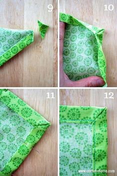 Sew Easy Handmade Mitered Corners Napkins A simple sewing tutorials on how to make handmade mitered corners napkins from fat quarters as an easy DIY project for home. Sewing Projects For Beginners, Sewing Tutorials, Sewing Hacks, Sewing Crafts, Sewing Tips, Diy Projects, Diy Crafts, Garden Crafts, Garden Projects