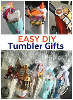 Make fun and useful DIY gifts by filling stainless steel tumblers like mini gift. - Make fun and useful DIY gifts by filling stainless steel tumblers like mini gift. Make fun and useful DIY gifts by filling stainless steel tumblers . Gift Baskets For Women, Diy Gift Baskets, Christmas Gift Baskets, Christmas Diy, Homemade Gift Baskets, Creative Gift Baskets, Basket Gift, Diy Gift Basket Wrapping Ideas, Unique Gift Basket Ideas