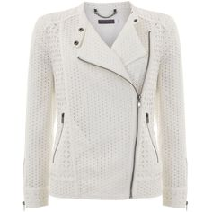 Mint Velvet Ivory Broderie Biker Jacket ($185) ❤ liked on Polyvore featuring outerwear, jackets, ivory, women, motorcycle jacket, summer jacket, ivory jacket, embroidered jacket and moto jacket
