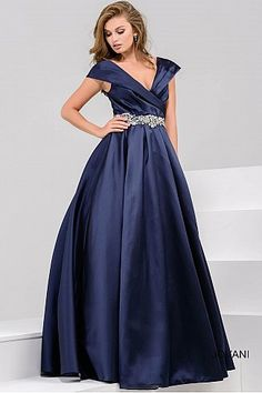 Navy Off the Shoulder Pleated Evening Ballgown 25190 #FormalDance #FormalGown #PromDress #Jovani
