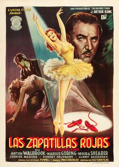The Red Shoes (Aka Las Zapatillas Rojas) Moira Shearer (Center) Anton Walbrook (Right) 1948 Movie Poster Masterprint x Baba Yaga, Spanish Posters, Italian Artist, Online Gratis, Movie Photo, Film Stills, Film Posters, Cinema Posters, Vintage Movies
