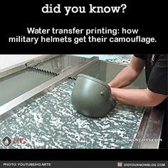Water transfer printing: how military helmets get their camouflage. Source